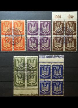 Vokietijos Reichas, pilna serija kvartblokiais MiNr 263-267 Used (O)