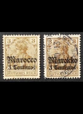 Vokietijos Reichas, Užsienio ir kolonijų paštas, Marokas MiNr 34, 46 Used (O)