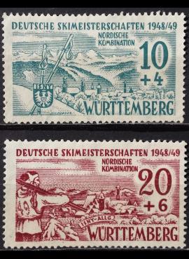 Pokario Vokietija, Prancūzų zona, Viurtembergo žemės, pilna serija MiNr 38-39 MNG (*)