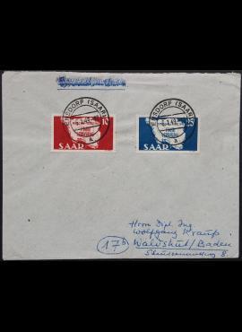 Pokario Vokietija, Prancūzų zona, Saro žemės, pilna serija MiNr 260-261 ant voko