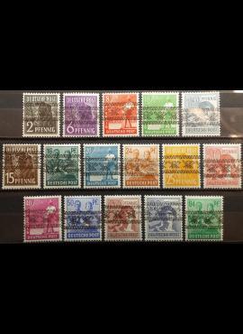 Pokario Vokietija, Amerikiečių/Britų zona, MiNr 36-51(I) MLH* (be Nr A49)