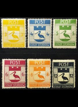 Vokietijos lokalus paštas, Storkovas, pilna serija MiNr 9-14 (A) MLH*