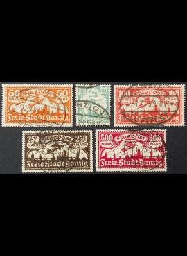 Laisvasis miestas Danzigas, pilna Oro pašto serija MiNr 133-137 Used (O)