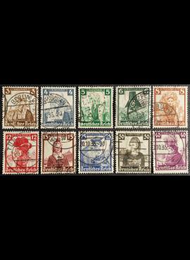 Vokietijos Reichas, pilna serija MiNr 588-597 Used (O)