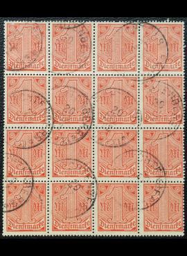 Vokietijos Reichas, tarnybiniai, blokas iš MiNr 30 (16 vnt.) Used (O)