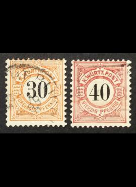 Senoji Vokietija, Viurtembergas, pilna serija, MiNr 61-62 Used (O)