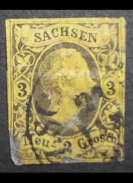 Senoji Vokietija, Saksonija, 1851m. MiNr 6 Used(O)