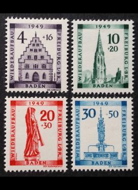 Pokario Vokietija, Prancūzų zona, Badeno žemės, pilna serija MiNr 38-41(A) MLH*/MH*