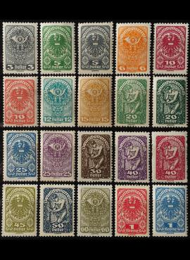 Austrija, pilna serija, MiNr 255-271 MNH**/MLH*/MH*
