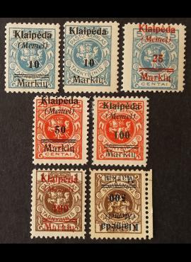 Klaipėda (Memel), pilna serija MiNr 129-134+129 I MH*/MNG (O)
