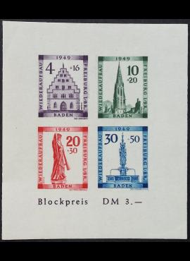 Pokario Vokietija, Prancūzų zona, Badeno žemės, blokas Nr. 1B MiNr 38-41 MNH**