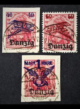 Laisvasis miestas Danzigas, pilna serija, oro paštas (I) MiNr 50-52 Used (O)
