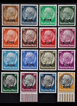 Vokietijos Reichas, Elzaso okupacija, pilna serija MiNr 1-16 MLH*/MH*