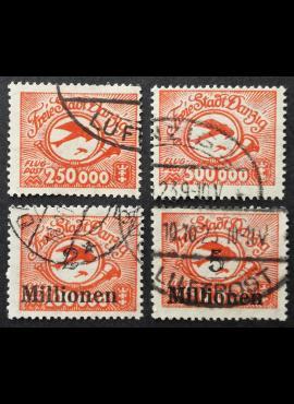 Laisvasis miestas Danzigas, pilna Oro pašto serija, MiNr 177-180 Used (O)