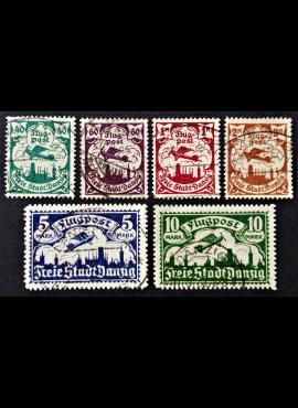 Laisvasis miestas Danzigas, pilna serija, oro paštas (II), MiNr 66-71 Used (O)