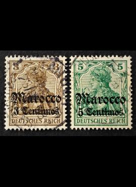 Vokietijos Reichas, Užsienio ir kolonijų paštas, Marokas, MiNr 34-35 Used (O)
