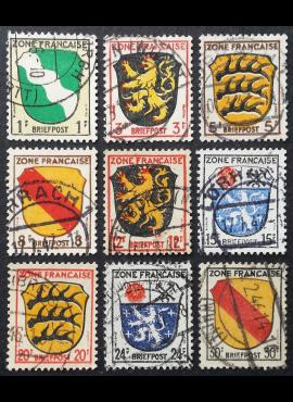 Pokario Vokietija, Prancūzų zona MiNr 1-4, 6-10 Used (O)