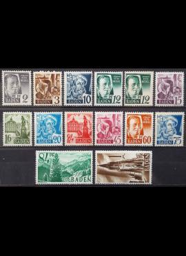 Pokario Vokietija, Prancūzų zona, Badeno žemės, pilna serija, MiNr 1-13 MNH**
