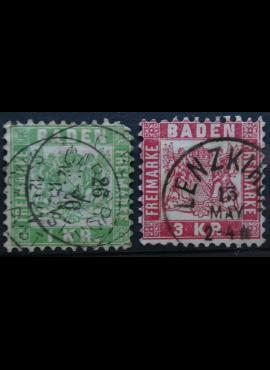 Senoji Vokietija, Badenas, 1868m, MiNr 23-24 Used(O)