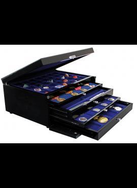 Medinė, lakuota kolekcijų dėžė su stalčiais SAFE 6590