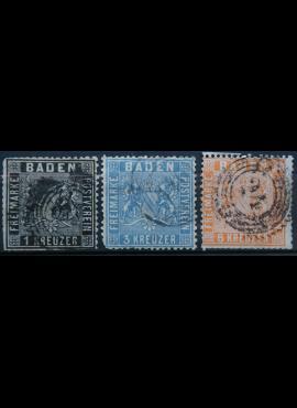 Senoji Vokietija, Badenas, 1860m, MiNr 9-11 Used(O)