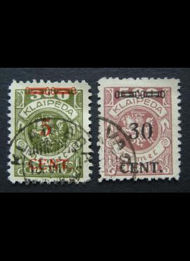 Klaipėda (Memel), pilna serija (175 - abartas), MiNr 174Ie-175I Used (O)