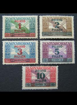 Vengrija, specialaus pristatymo ženklai, pilna serija, MiNr 99-103 MH*