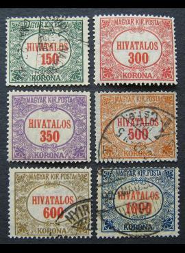 Vengrija, tarnybiniai ženklai, pilna serija, MiNr 22-27 MLH*/Used (O)