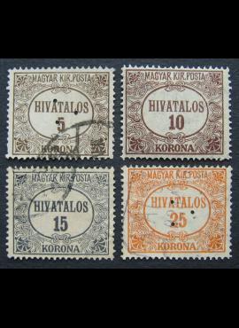 Vengrija, tarnybiniai ženklai, pilna serija, MiNr 15-18 MLH*/Used (O)