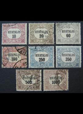 Vengrija, tarnybiniai ženklai, pilna serija, MiNr 1-8 MH*/Used (O)