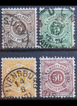 Senoji Vokietija, Viurtembergas, 1890m, pilna serija, MiNr 55-58 Used(O)