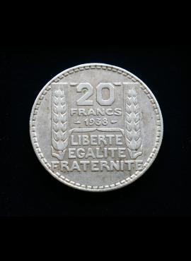 Prancūzija, SIDABRINIAI 20 frankų, 1938m