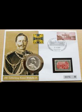 Numizmatinis vokas su Prūsijos 1913m, SIDABRINĖM 3 markėm ir MiNr 97A bei 2634 pašto ženklais
