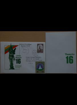 Dailininko A. Šakalio 1990m kolekcinis vokas su atvirute Nr. 41 G