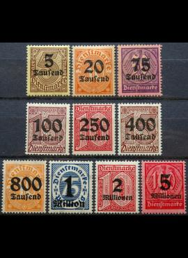 Vokietijos Reichas, tarnybiniai, pilna serija, MiNr 89-98 MLH*/MH*