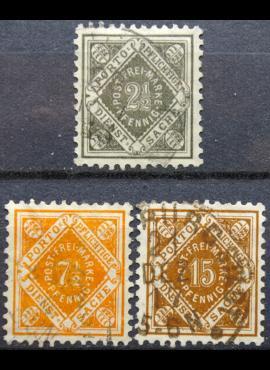 Senoji Vokietija, Viurtembergas, tarnybiniai, pilna serija MiNr 119-121 Used(O)