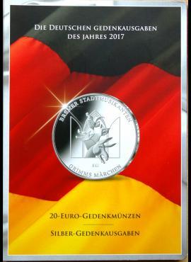 2017m Vokietijos 20 eurų proginių monetų ir medalių kortelė