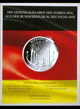 2016 m. Vokietijos 20 eurų proginių monetų kortelė