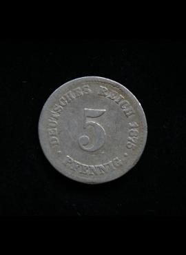 Vokietijos Imperija, 5 pfenigiai 1875m-C