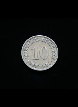 Vokietijos Imperija, 10 pfenigių 1907m-F