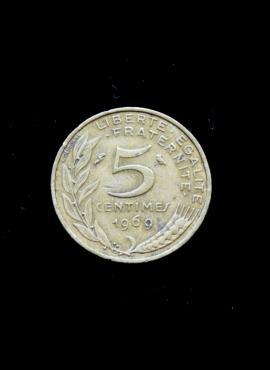 Prancūzija, 5 santimai 1969m