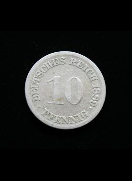 Vokietijos Imperija, 10 pfenigių 1889m-F