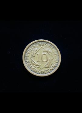 Vokietija, Veimaro Respublika, 10 reichspfenigų 1925m-D