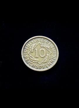 Vokietija, Veimaro Respublika, 10 reichspfenigų 1925m-G