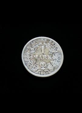 Vokietijos Imperija, SIDABRINĖ 1 markė 1881m-F