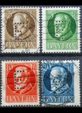 Senoji Vokietija, Bavarija, tarnybiniai, pilna serija MiNr 12-15 Used (O)