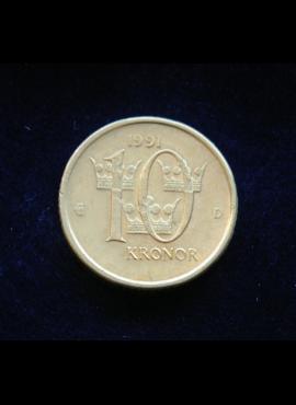 Švedija, 10 kronų 1991m