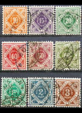 Senoji Vokietija, Viurtembergas, tarnybiniai, 1921m, pilna serija MiNr 150-158 Used (O)