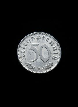 Vokietijos Reichas, 50 reichspfenigių 1943m-D