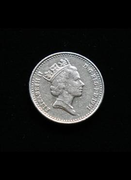 Didžioji Britanija, 5 pensai 1991m